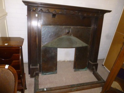 vic arts and crafts carved oak fire surround with copper inner and fender